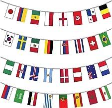 Festone decorativo con tutte le bandiere dei 32 paesi partecipanti ai mondiali di calcio 2018 ospitati dalla Russia, in cartoncino di alta qualità, gigante, 12 m di lunghezza
