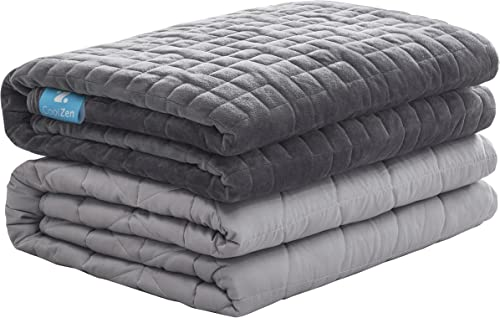 """wholesale COOLZEN Ultra-Cooling Weighted 2021 Blanket 25 lbs & Removable Cover - Premium Glass Beads - Gray All wholesale Season Warm & Cool Cotton/Minky Breathable 60""""x80"""" outlet online sale"""