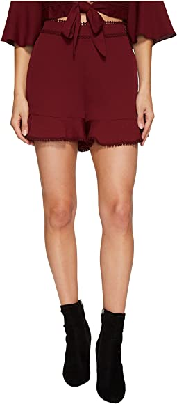Lace Trim Ruffle Shorts