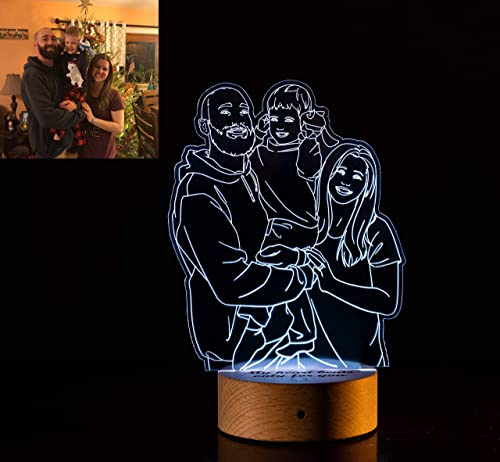 new arrival Personalized Photo Night Light, 3D Custom LED Acrylic Edge Lit discount Lamp, Picture Night USB Light, Wood Base Engraved Lamp, Photo Engraving Lamp, Birthday, high quality Anniversary, Christmas, Valentine's Day Gift online sale