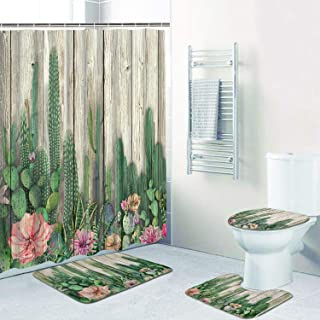 Alishomtll 4 Pcs Cactus Shower Curtain Set with Non-Slip Rug, Toilet Lid Cover, Bath Mat and 12 Hooks, Tropical Succulent Cacti on Wooden Board Waterproof Shower Curtain Sets for Bathroom