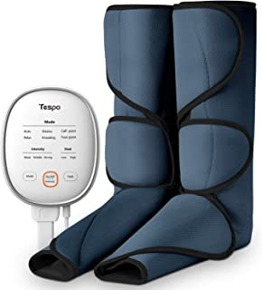 Tespo Leg Massager with Heat Air Compression Wrap Massage Foot and Calf for Circulation with Handheld Controller 3 Intensities 6 Modes, Helpful for RLS and Edema