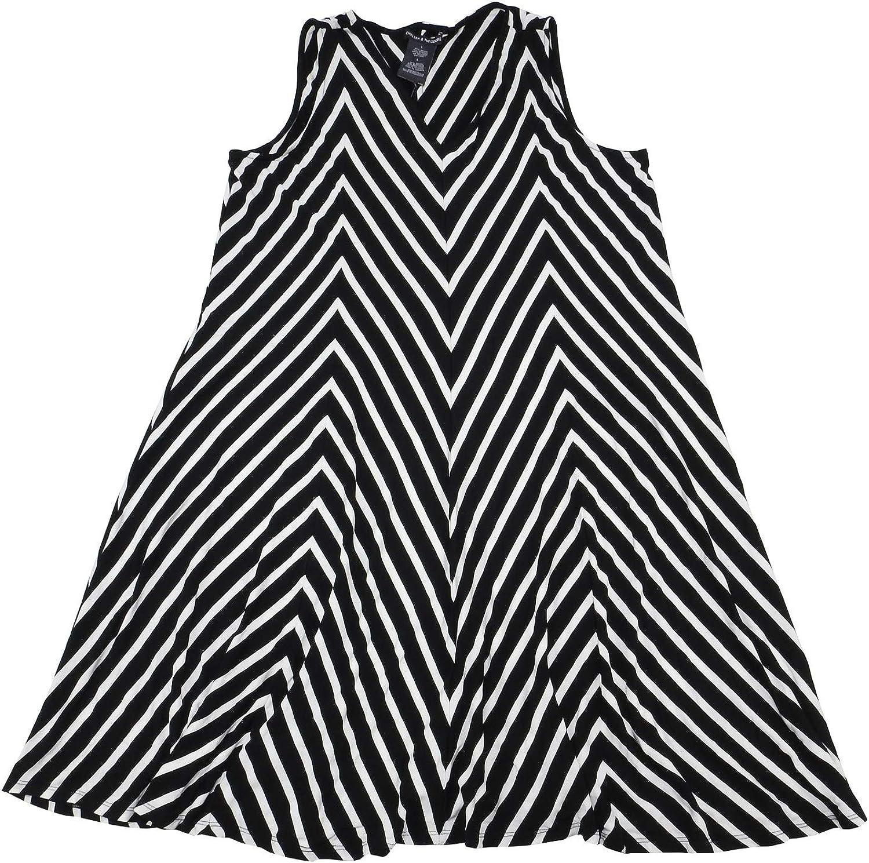 Chelsea & Theodore Womens Sleeveless VNeck Dress, Black White