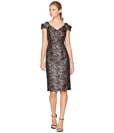 Maggy London Twilight Rose Brocade Cold Shoulder Sheath Dress (Metallic) Women