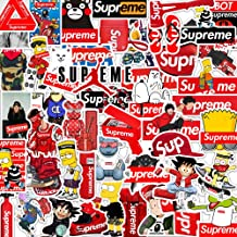 Brand Supreme Laptop Stickers Vinyl - 47 Pack Fashion Cool Waterproof Decals Suitable for Water Bottle Car Motorcycle Bicycle Bumper Skateboard Helmet Luggage Phone Case Decoration Gift [No-Duplicate]
