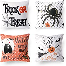 Phantoscope Set of 4 Happy Halloween Trick or Treat Embroidery Letter Spider Wizard Throw Pillow Case Cushion Cover 18 x 18 inch 45 x 45 cm