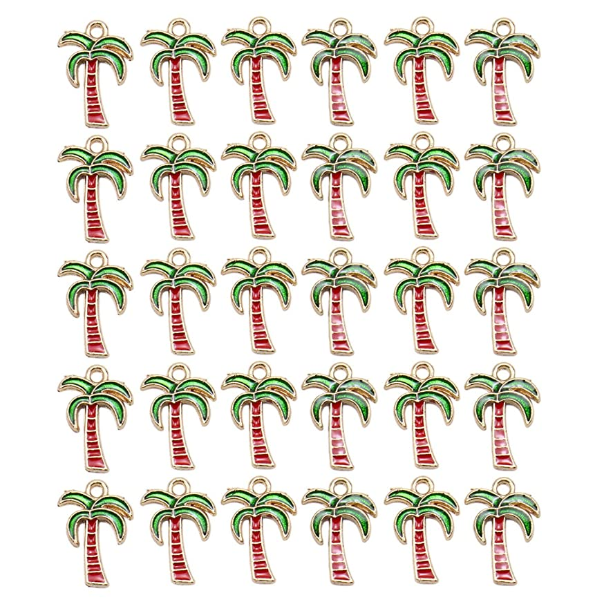 Monrocco 30 Pieces Palm Tree Coconut Charms Tropical Bird Design Alloy Bead Jewelry Making Charms for Bracelet Earring Necklace Key Chain