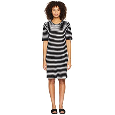 Eileen Fisher Round Neck Knit Linen Dress (Black/White) Women