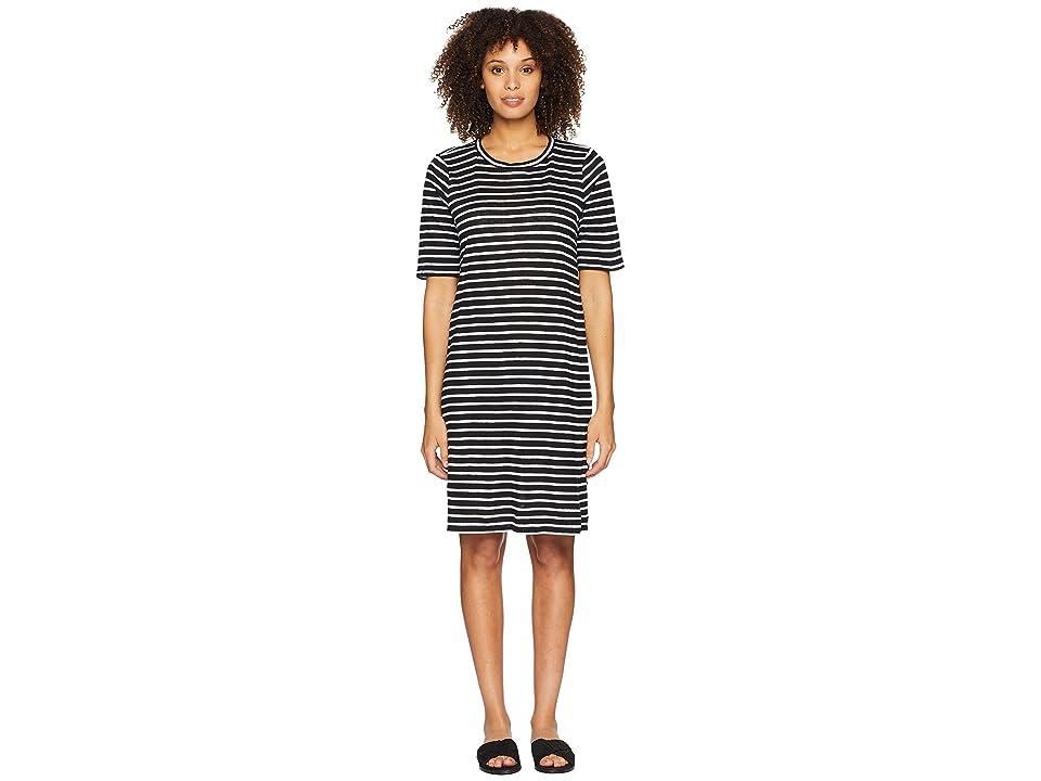 Eileen Fisher Round Neck Knit Linen Dress (Black/White) Women