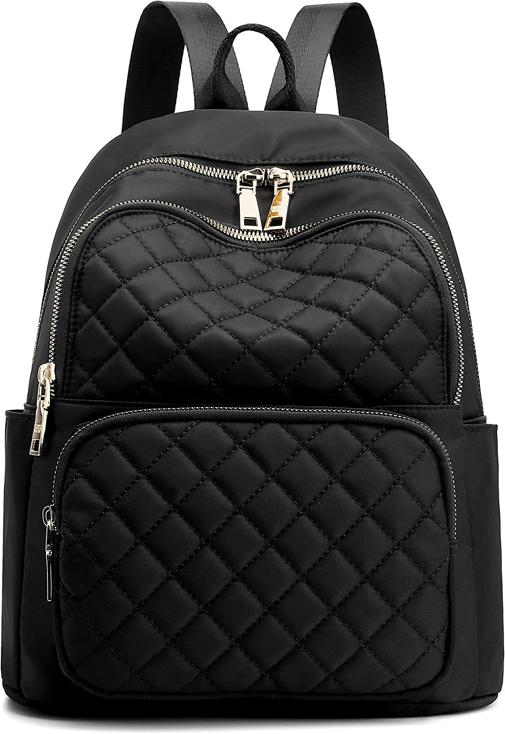 Backpack for Women, Nylon Travel Backpack Purse Black Shoulder Bag Small Casual Daypack for Girls (Black Quilted) : Clothing, Shoes & Jewelry