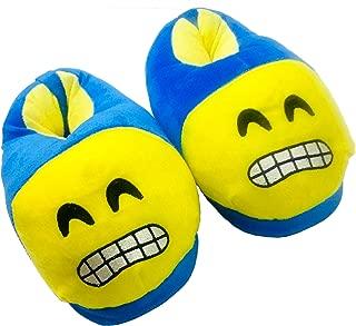 Trend Overseas Blue Warm Sleeper Winter Shoes Emoji Bedroom Slipper Funny Soft Plush for Adults Kids Teens Bedroom Smiley Poop Socks Womens