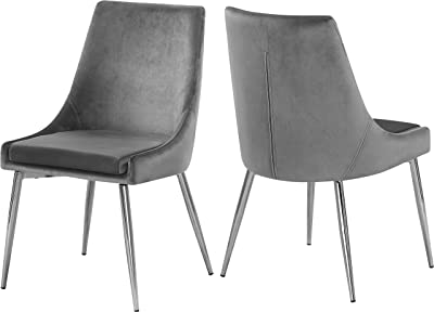 """Meridian Furniture 784Grey-C Karina Collection Grey Modern   Contemporary Velvet Upholstered Dining Chair with Polished Chrome Metal Legs, Set of 2, 19.5"""" W x 21.5"""" D x 33.5"""" H,"""