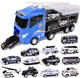 FUN LITTLE TOYS 12 in 1 Die-cast Police Car Transport Truck Car Carrier Toy with Mini Police Vehicles