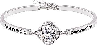 "ALOV Jewelry Sterling Silver ""always my daughter forever my friend"" Cubic Zirconia Bracelet"