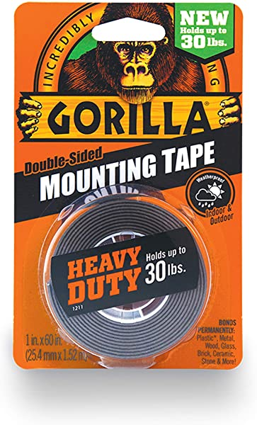 Gorilla Heavy Duty Double Sided Mounting Tape 1 Inch X 60 Inches Black New Improved Version