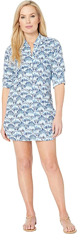 Tide Seashell Boyfriend Shirt Cover-Up