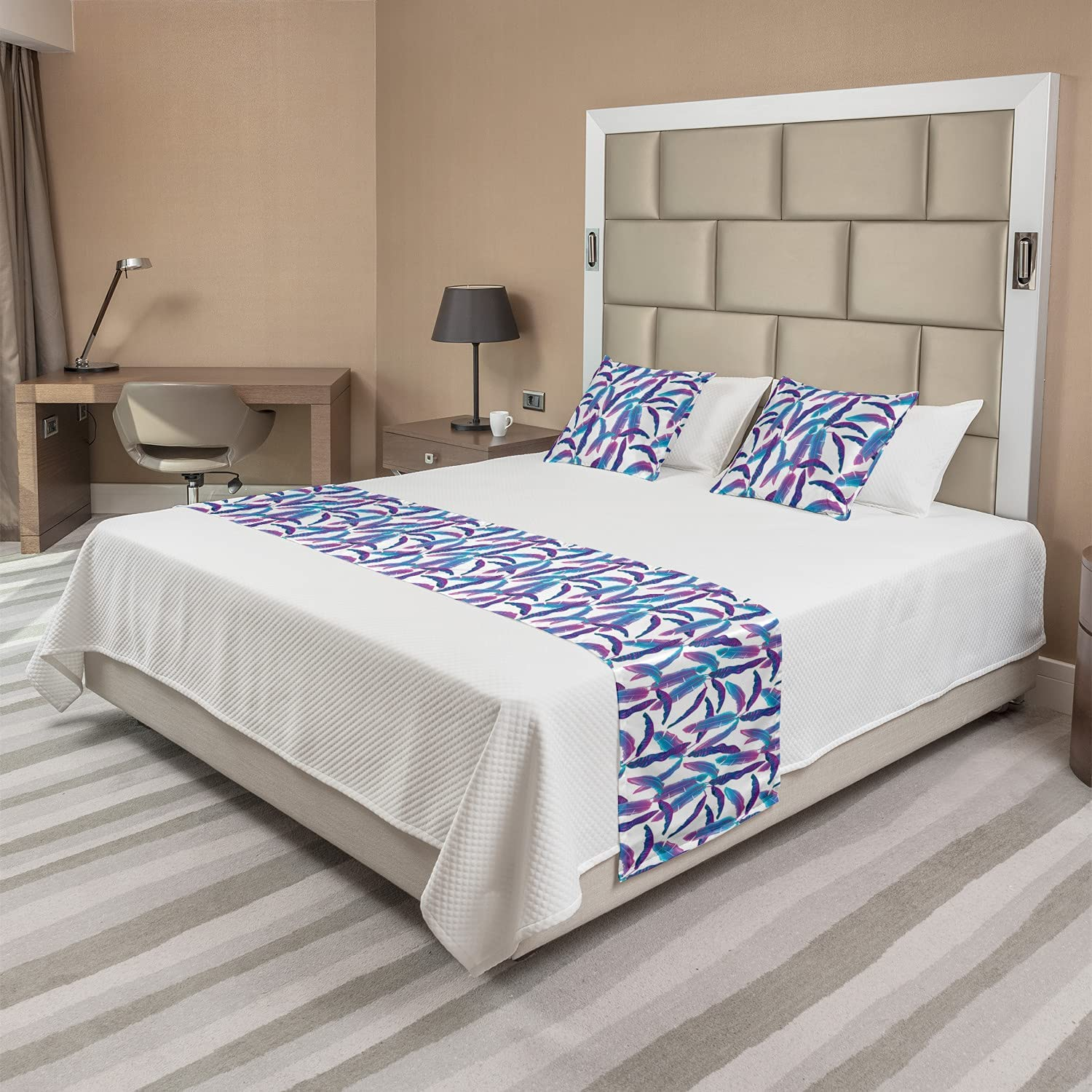 Lunarable Tropical Party Bed Runner Exotic Set Max Limited price 59% OFF Colorf Leaves in