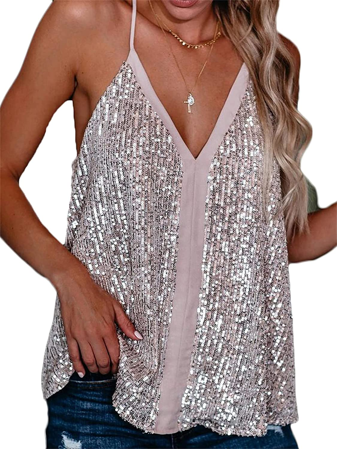 Andongnywell Women's Solid Color Sequined Camisole Shining Glitter Top Shimmer Sequin Tank Blouses Tunics