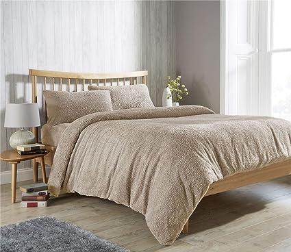 Teddy Fleece Duvet Cover Bedding Linen Warm Teddy Bear Sherpa Bedding Set GREY