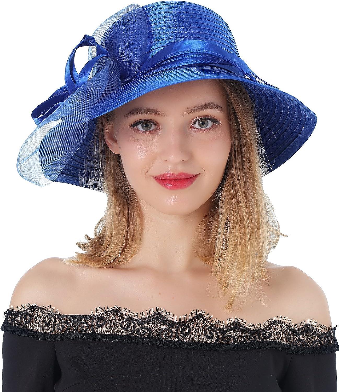 Dantiya Sun Hats for Womens Summer Wide Brim Kentucky Derby Church Dress Wedding Floral Party Hat