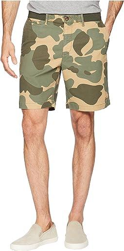 "Elasticated Waistband Camo Print 8"" Slim Fit w/ Stretch Shorts"