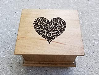 Love music box with a heart engraved on the top with your choice of color and song, perfect Valentines gift