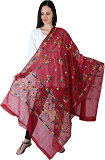 Crocon Cotton Long Women's Kutch Work Dupatta Embroidery Floral Handicraft Stole/Scarf/Shawl Wrap