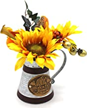 CVHOMEDECO. Primitives Rustic Artificial Sunflower in Galvanized Metal Milk Pitcher, Farmhouse Sunflowers in Watering Can ...
