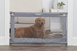 Carlson Extra Wide Gray Mesh Expandable Pet Gate with Small Pet Door, Mesh, Includes Rubber Bumpers, Doors and Hallways