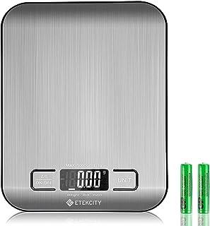 Etekcity Balance de Cuisine Électronique 5 kg/1g en Acier INOX, Fonction Tare, Pesée du Lait, Affichage de la Batterie, Mu...
