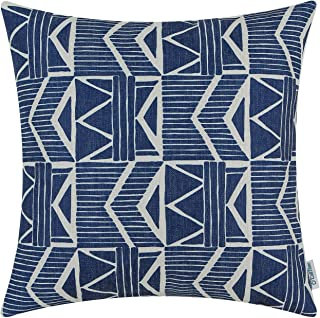 CaliTime Canvas Throw Pillow Cover Case for Couch Sofa Home Decoration Vintage Southwestern Geometric 20 X 20 Inches Navy ...