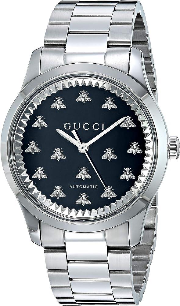 Gucci g-timeless orologio da uomo  automatico in acciaio inossidabile vetro zaffiro YA1264130