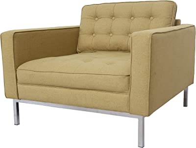 Iconic Home Draper Modern Yellow Linen Tufted Square Arm Club Chair with Straight Silvertone Legs