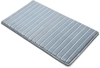 "Microdry 10811 Memory Foam Softlux Skid-Resistant Bath Mat, 21 x 34, 21"" x 34"", Blue"