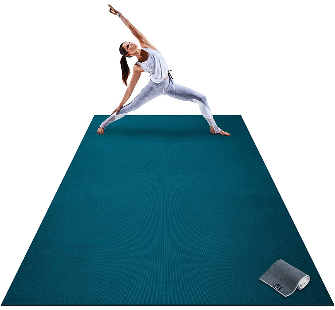 Premium Extra Large Yoga Mat - 9' x 6' x 8mm Extra Thick & Comfortable, Non-Toxic, Non-Slip, Barefoot Exercise Mat - Yoga, Stretching, Cardio Workout Mats Home Gym Flooring (108