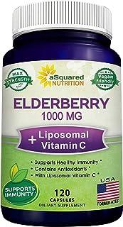 Black Elderberry Capsules with Vitamin C & Zinc Supplement - Elderberry (Sambucus Nigra) 1000mg & Liposomal...