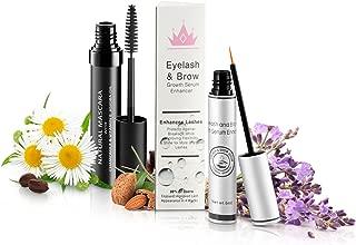 Natural Eyelash & Brow Growth Serum With Natural Organic Mascara   Gives You Longer Natural Thicker Looking Eyelashes & Eyebrows   Conditions Repairs & Stimulates Healthy New Eyelash Growth & Eyebrow