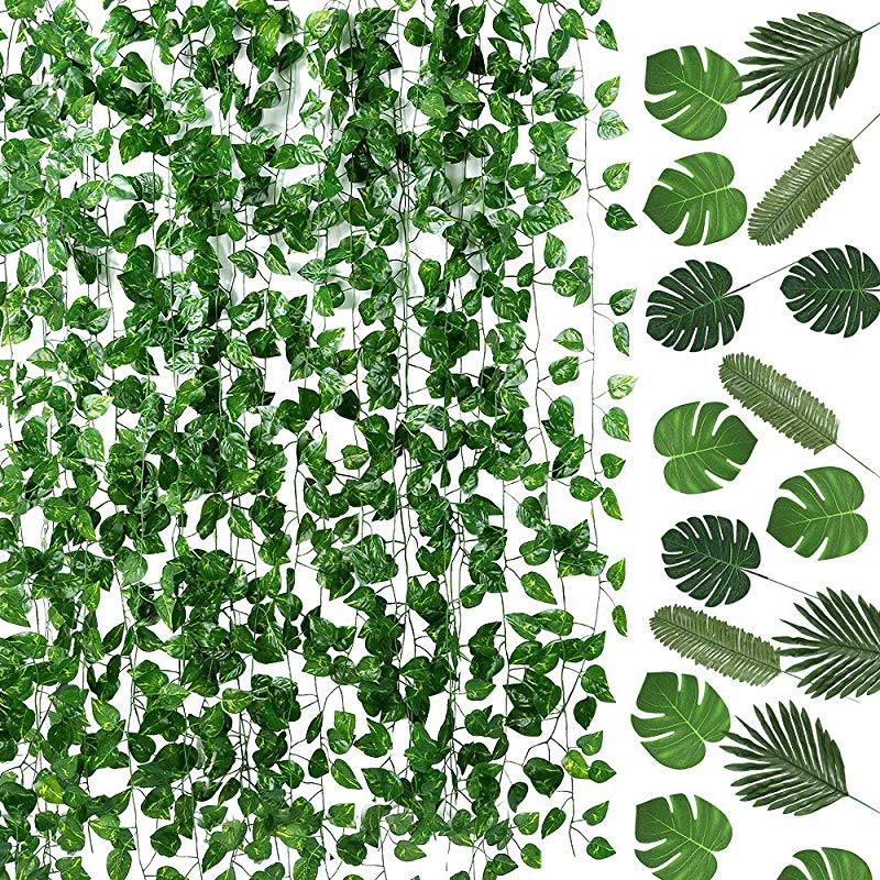 Auihiay 93 FT 12 Strands Artificial Ivy Leaf Plants Vine Garland And 24 Pieces Artificial Palm Leaves For Home Wall Garden Baby Shower Wedding Home Party Decor
