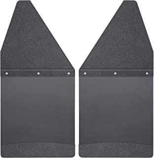 Husky Liners Kick Back Mud Flaps 12IN Wide -Black Top/Wt Fits Silverado/F150/Ram