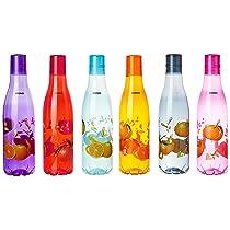 Amazon Brand – Solimo Plastic Fridge Water Bottle Set (6 pieces, Multicolour, Citrus Pattern)