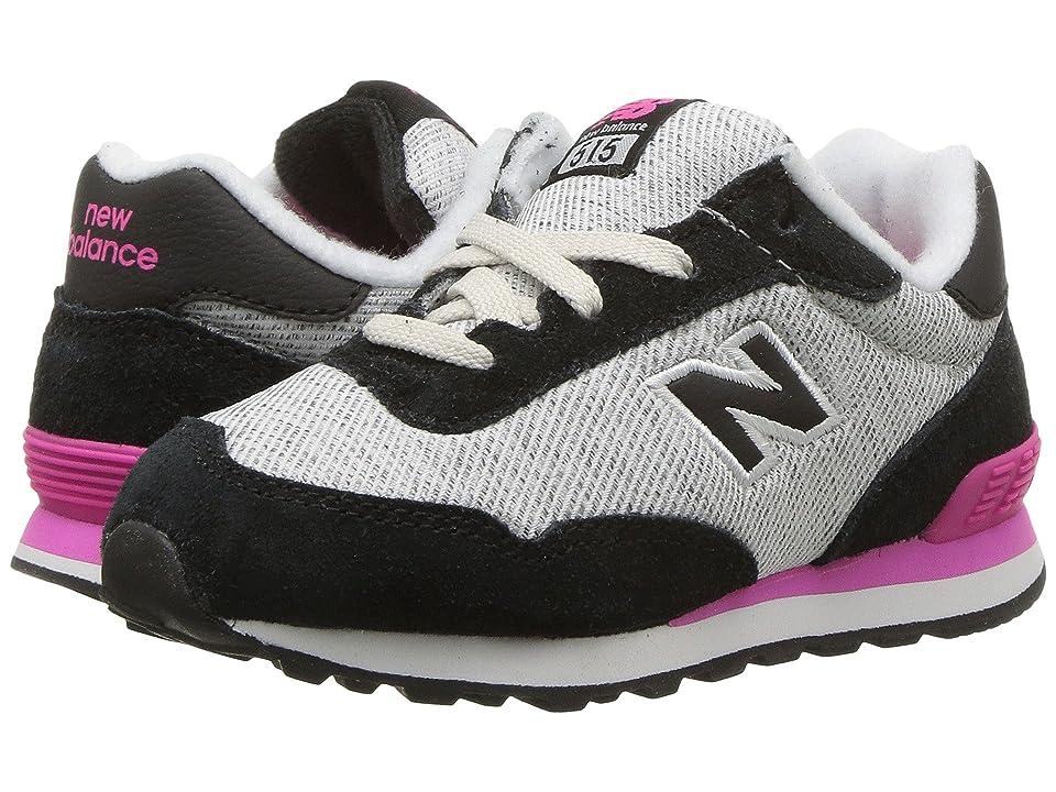 New Balance Kids KL515v1I (Infant/Toddler) (Black/Pink Glo) Girls Shoes