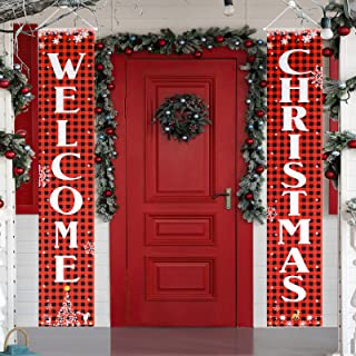 KRISVI Christmas Porch Decorations for Home Merry Christmas Banner,Welcome Christmas Porch Signs Banners for Front Door Ch...