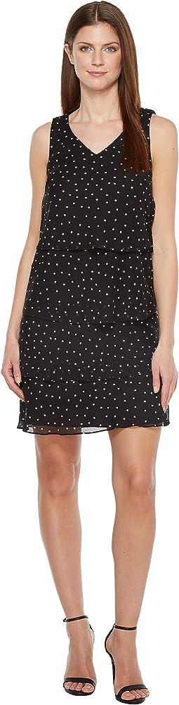 Tiered Chiffon Dot Dress