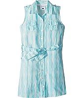 Toobydoo Aqua Blue Belted Shirtdress (Toddler/Little Kids/Big Kids)
