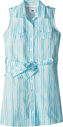 Toobydoo Aqua Blue Belted Shirtdress (Toddler/Little Kids/Big Kids)