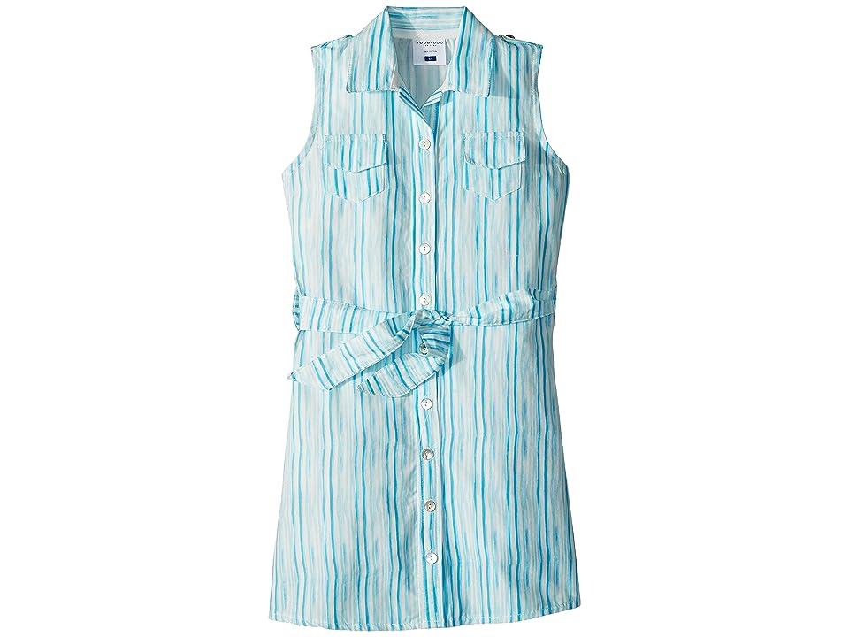 Toobydoo Aqua Blue Belted Shirtdress (Toddler/Little Kids/Big Kids) (Aqua) Girl