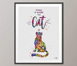 Cat Cita Home is Where the Cat is - Impresión de acuarela para decoración de pared de gato para decoración del hogar, gato...