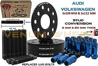 Venum wheel accessories 4 Pc Audi & Volkswagen 57.1 MM Hub Black Hub Centric Spacers 5 MM & 20 MM Thick + Stud Conversion Kit W/Blue Racing Lug Nuts (Replaces Lug Bols) - Fits Aftermarket Wheels