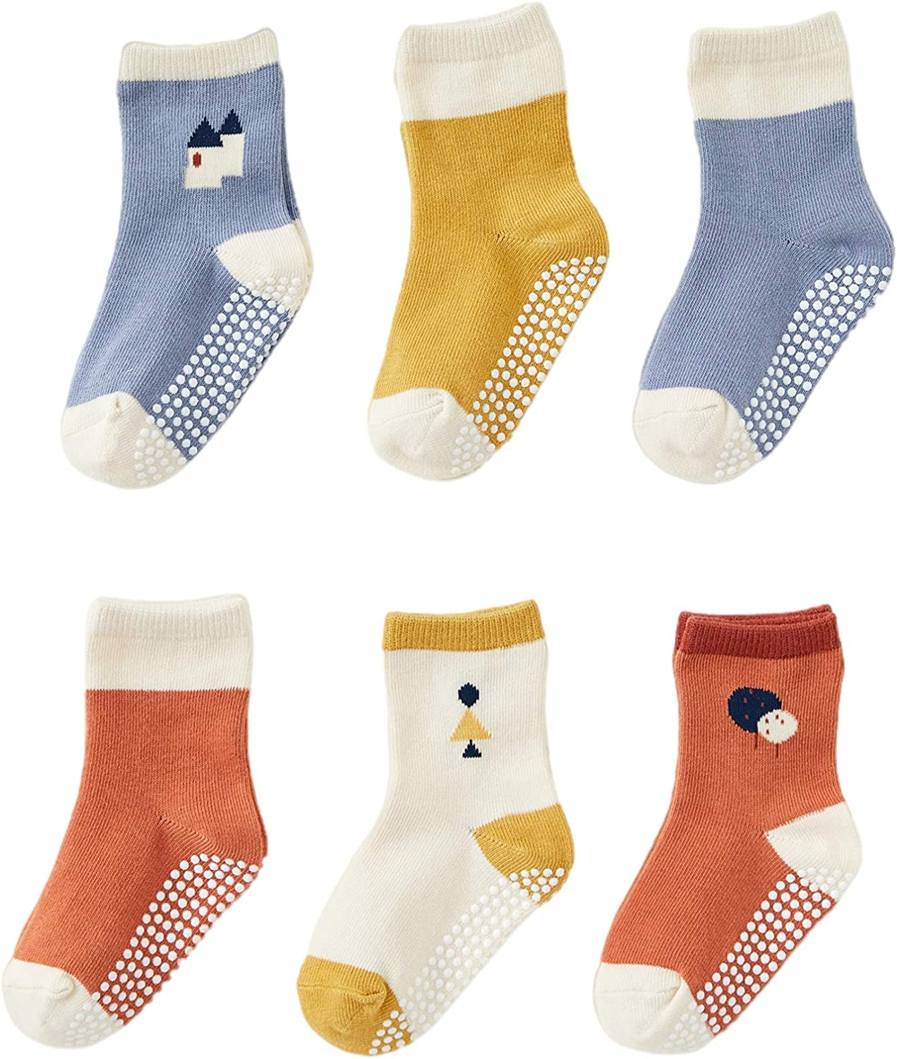 DuoMiaoMiao Baby Socks for Boys and Girls, 6 Pairs Anti-slip Toddler Socks, Cotton Baby Walkers for Baby