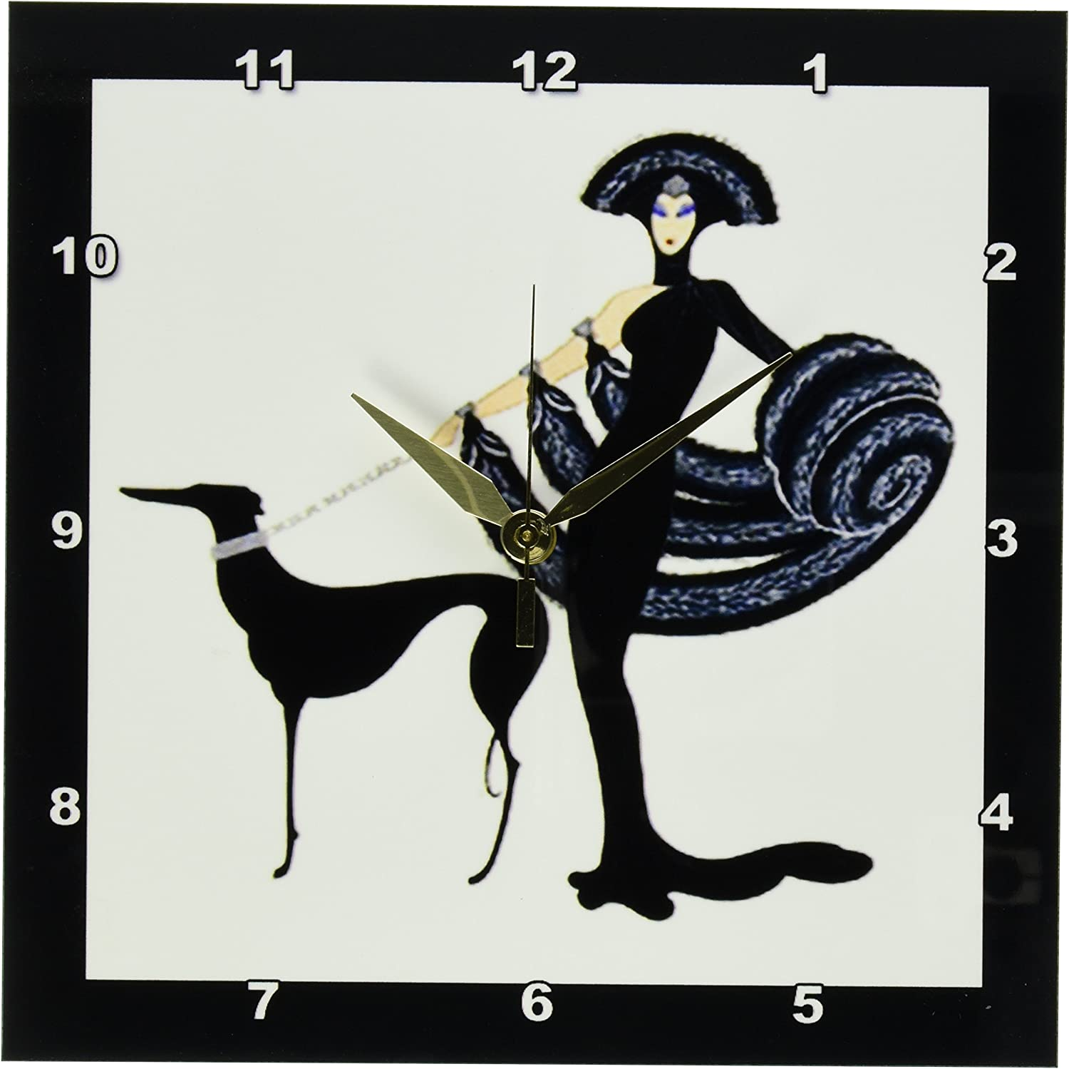 3dRose dpp_43794_1 Art Deco Lady with Clock Wall Ranking 2021 model TOP7 10-I by Dog 10